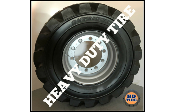(4) 445/55D19.5 Used OTR Foam Filled Tires On 10 Bolt Wheels, 44555D195 Tyre
