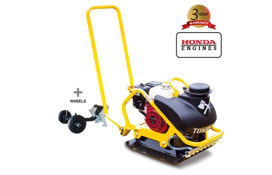 Tomahawk TPC90H Vibratory Plate Compactor with Honda Engine and Wheels