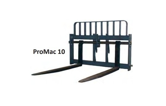 "48"" Wide Frame - Promac - 10,000 lbs. Capacity, JCB, 2.25"" Fixed Shaft, Grapple With 48"" Forks"