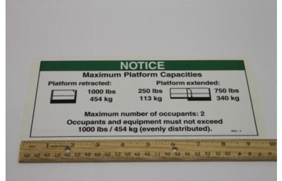 Decal Notice Maximum Capacity 1000/250 Genie Part 48331GT