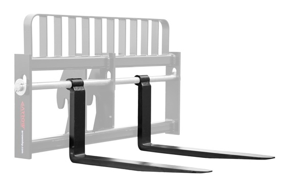 "Gehl Telehandler Shaft Mounted Fork - Pair, 2x4x48, Fits 2"" Shaft, 25"" BH, 8K Capacity"