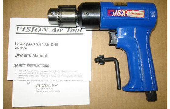 """Pneumatic Air Drill 3/8"""" Jacobs Chuck Vision Air VA-D380"""