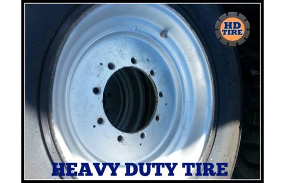 (2) 15-19.5 USED Foam Fill OTR on 9 Bolt Wheel Tire, 15 X 19.5, 15195 Tyre