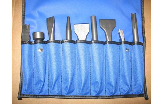 9 Piece Air Hammer Chisel Set .401 Shank Ajax Bits New